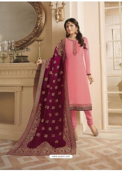 Peach Georgette Satin Floral Worked Churidar Suit