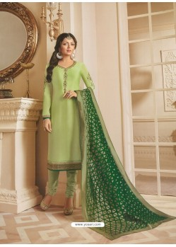 Green Georgette Satin Floral Worked Churidar Suit