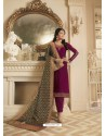 Purple Georgette Satin Floral Worked Churidar Suit