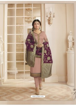 Baby Pink Georgette Satin Floral Worked Churidar Suit