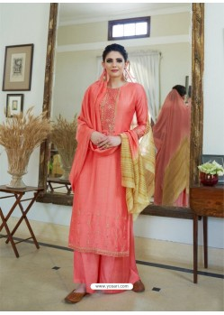 Light Red Cotton Silk Latest Palazzo Suit