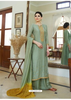 Olive Green Cotton Silk Latest Palazzo Suit