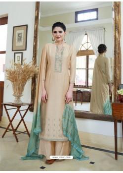 Cream Cotton Silk Latest Palazzo Suit