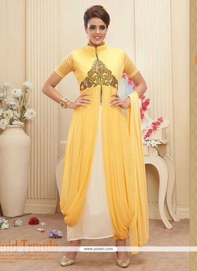 Classy Yellow Georgette And Net Anarkali Suit