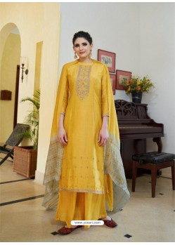 Yellow Cotton Silk Latest Palazzo Suit