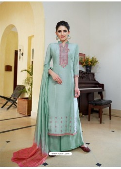 Sea Green Cotton Silk Latest Palazzo Suit