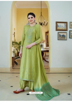 Green Cotton Silk Latest Palazzo Suit