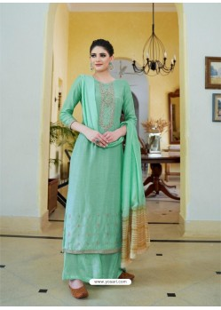 Aqua Mint Cotton Silk Latest Palazzo Suit