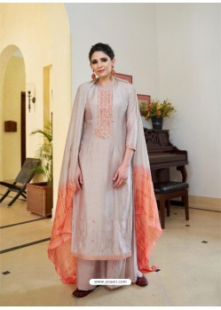 Dusty Pink Cotton Silk Latest Palazzo Suit