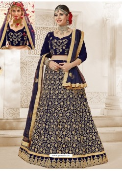 Navy Blue Velvet Heavy Embroidered Lehanga Choli