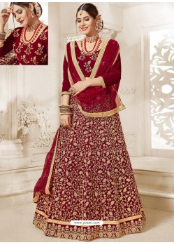 Maroon Velvet Heavy Embroidered Lehanga Choli