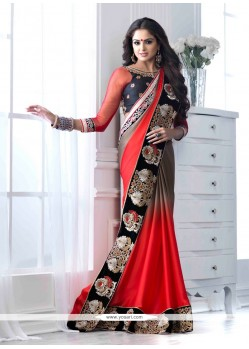Red And Brown Shaded Satin Chiffon Designer Saree