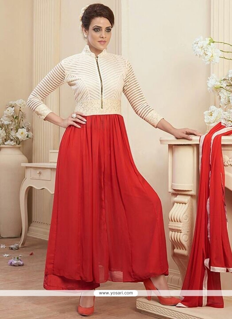 Stupendous Red Georgette And Net Anarkali Suit