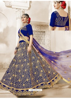 Royal Blue Velvet Heavy Embroidered Lehanga Choli