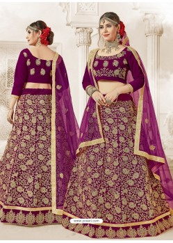 Purple Velvet Heavy Embroidered Lehanga Choli