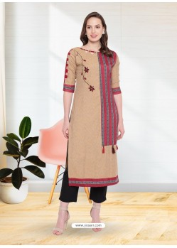 Beige Rayon Designer Party Wear Kurti