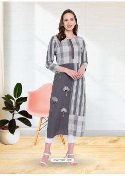Grey Rayon Designer Party Wear Kurti