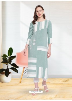 Grayish Green Rayon Designer Party Wear Kurti