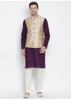 Purple Cotton Kurta Pajama For Men