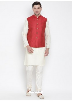 Off White Cotton Kurta Pajama For Men
