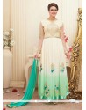 White And Green Shaded Georgette Anarkali Suit