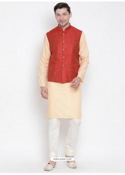 Cream Cotton Kurta Pajama For Men