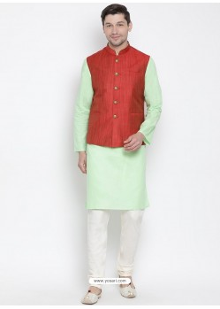 Sea Green Cotton Kurta Pajama For Men