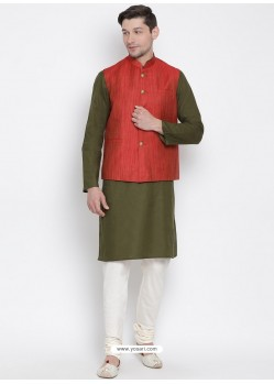 Mehendi Cotton Kurta Pajama For Men