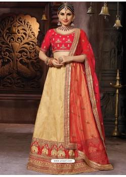 Gold Heavy Embroidered Wedding Lehenga Choli