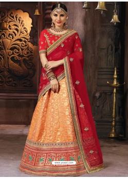 Light Orange Heavy Embroidered Wedding Lehenga Choli