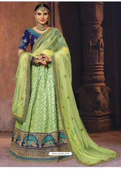 Green Heavy Embroidered Wedding Lehenga Choli