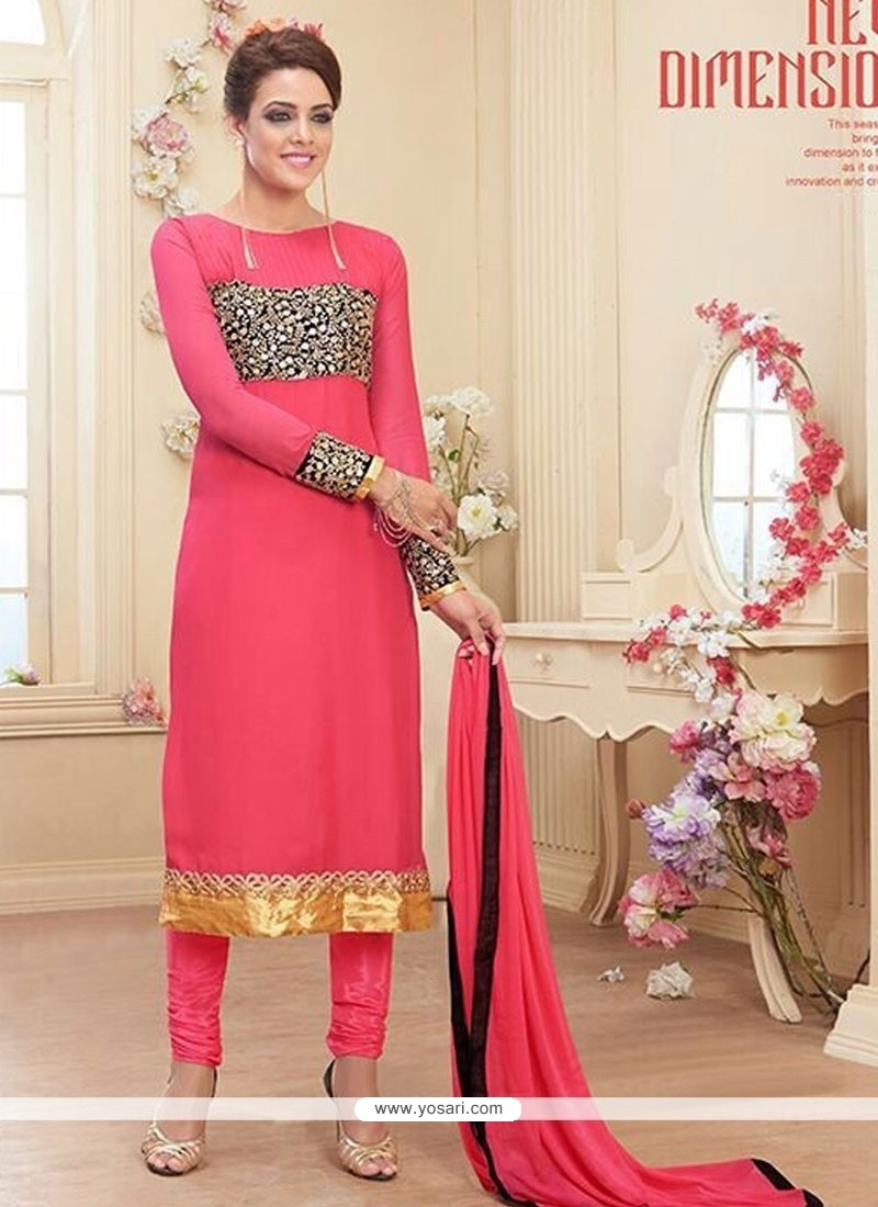 Fabulous Pink Georgette Churidar Salwar Suit