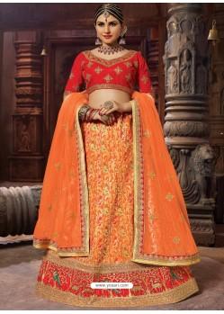 Orange Heavy Embroidered Wedding Lehenga Choli