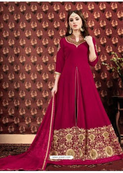 Rose Red Embroidered Designer Anarkali Suit