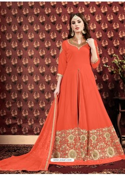 Scintillating Orange Embroidered Designer Anarkali Suit