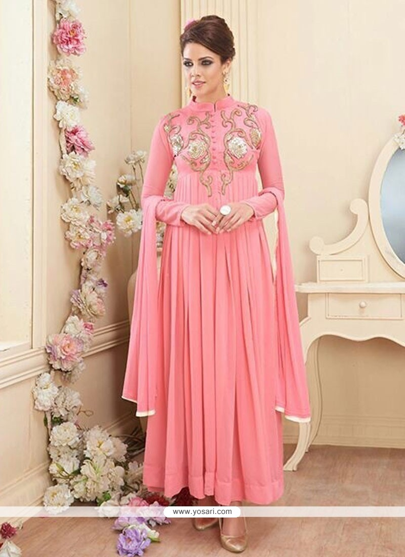 Celestial Pink Georgette And Net Anarkali Suit