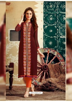 Maroon Designer Party Wear Georgette Kurti