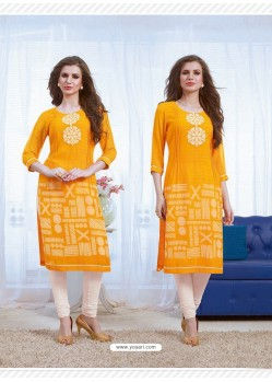 Yellow Designer Party Wear Georgette Kurti