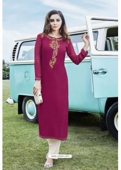 Medium Violet Designer Party Wear Georgette Kurti
