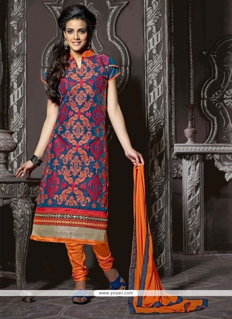 Enthralling Blue Embroidery Work Churidar Suit