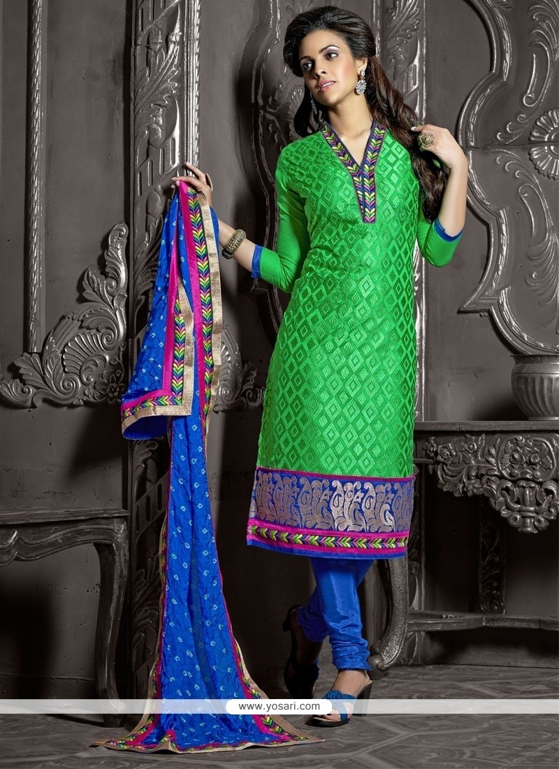 Embellished Green Chanderi Cotton Churidar Suit