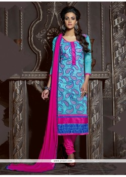 Sky Blue Chanderi Cotton Churidar Suit