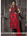 Pleasant Red Resham Work Churidar Salwar Kameez
