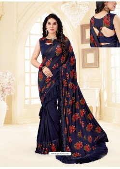 Navy Blue Fancy Designer Party Wear Lycra Sari