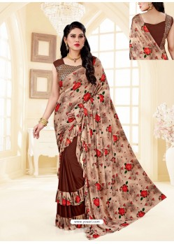 Brown Fancy Designer Party Wear Lycra Sari