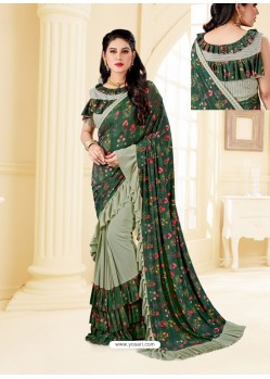Dark Green Fancy Designer Party Wear Lycra Sari