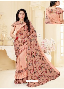Peach Fancy Designer Party Wear Lycra Sari