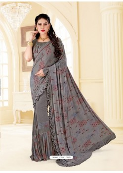 Grey Fancy Designer Party Wear Lycra Sari
