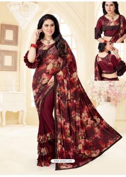 Maroon Fancy Designer Party Wear Lycra Sari