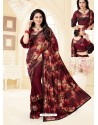 Maroon Fancy Designer Party Wear Lycra Sari